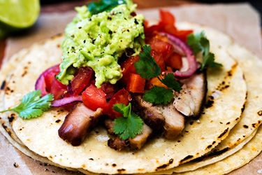 Barbecue pork belly tortillas