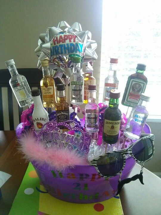 21st Birthday Booze Bouquet. Includes everything you see plus a shot glass, shot glass necklace, and recovery items: excedrine, water, and gum.