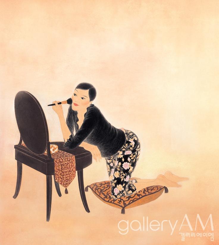 #Oriental painting   - Woman make up 1999, Youk Shim-won