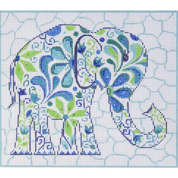 Item# 2431, Elephant Handpainted needlepoint designer unknown