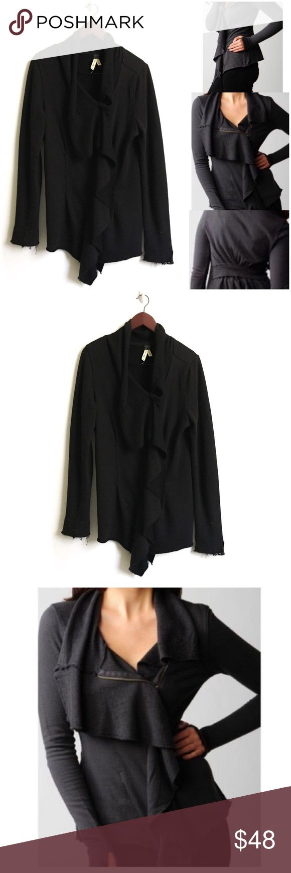 """Free People Jacket *Ruffle trim at the fold-over collar and at the off-center, two-way zip closure. Extended front hem and pleated waist. Unfinished edges. * 24"""" long, measured from center back. * Fabrication: French terry. * 100% cotton. * Good Preowned Condition. Free People Jackets & Coats"""