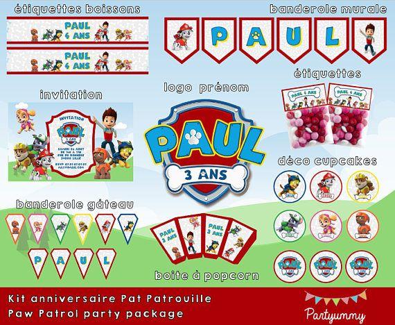Kit anniversaire Pat Patrouille personnalisé à télécharger - logo, invitation, étiquettes, cupcakes, banderoles, boîte à popcorn