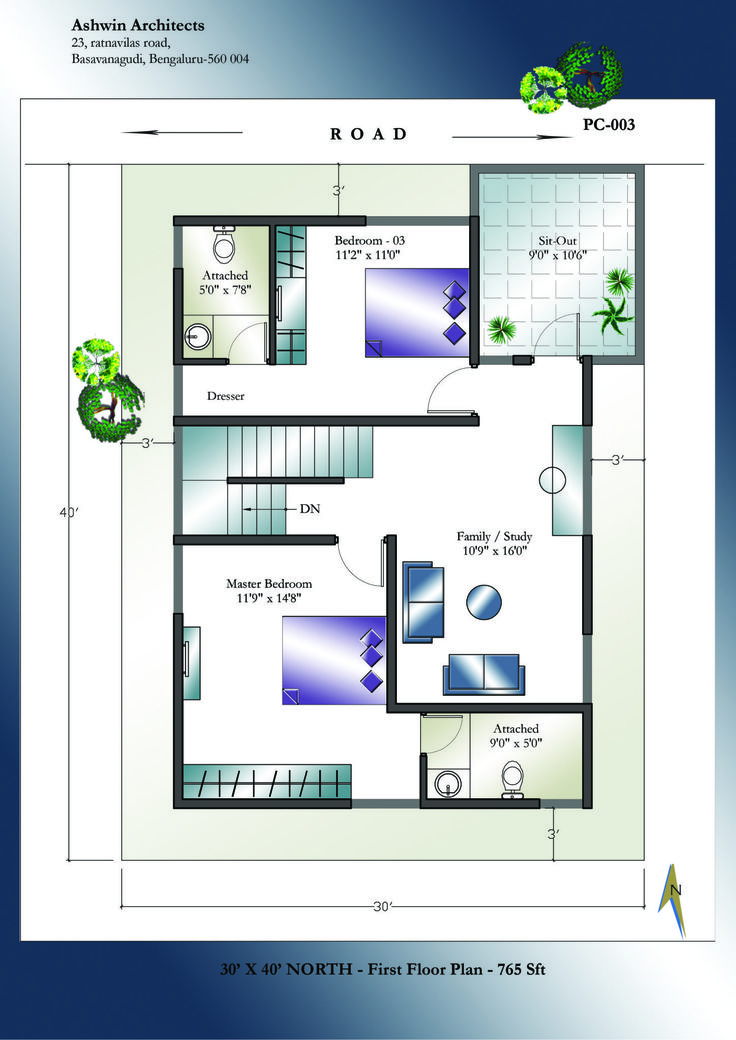 30 X 40 North Facing House Plans - First Floor