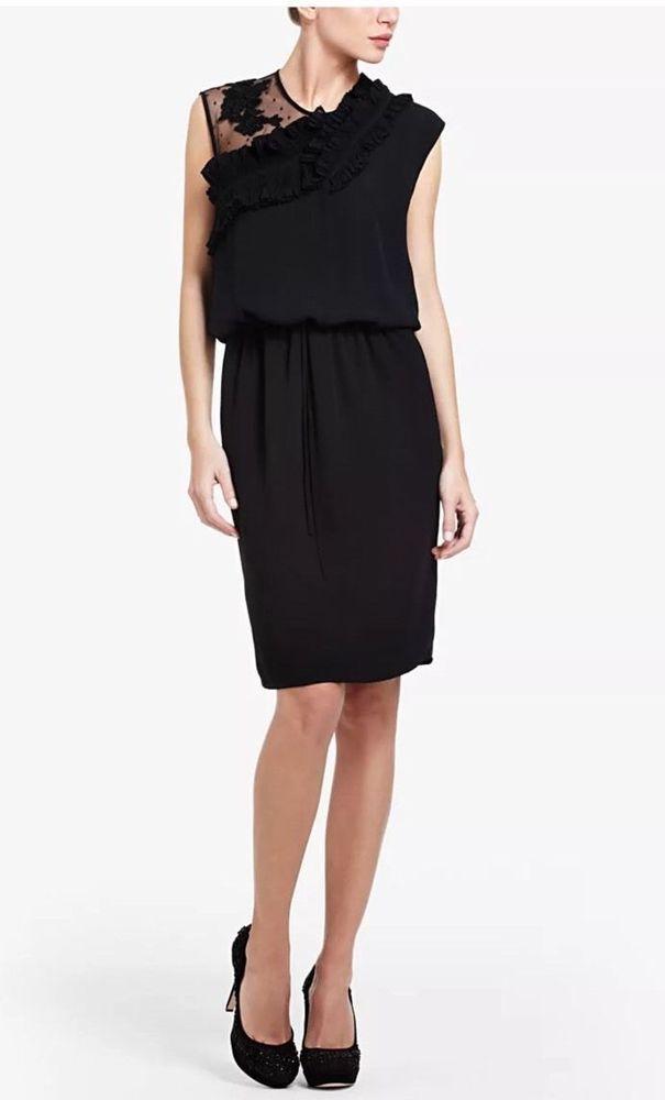 "NWT BCBG MAX AZRIA SMALL ""ANGELINE"" CREPE CHIFFON DRAWSTRING DRESS BLACK R/$298 #BCBGMAXAZRIA #Shift #CocktailPartydress"