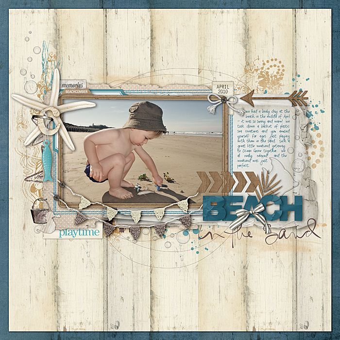 gorgeous beach scrapbook page from Jenelle at DesignerDigitals.com