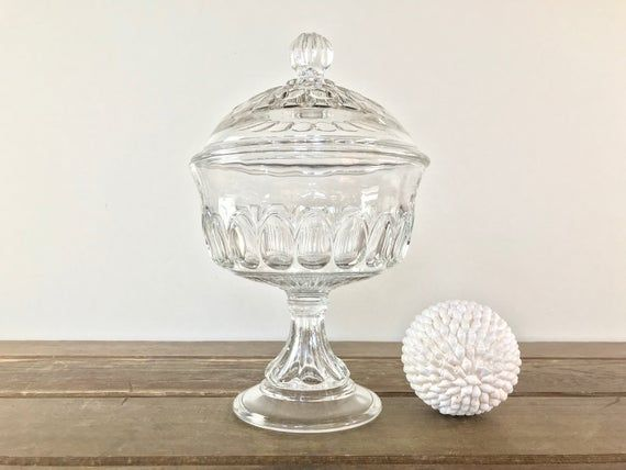 Antique Clear Pressed Glass Covered, Clear Glass Pedestal Candy Dish With Lid