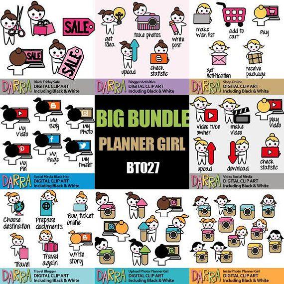 Social Media Clipart Sale Bundle Planner Sticker Emoti Girl Icon Clip Art Blogger Video Make Upload Photo Clip Art How To Make Planner Planner Addicts