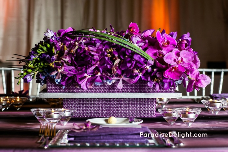 Contemporary purple orchid centerpiece with rhinestone