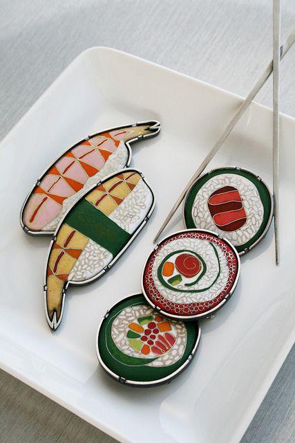 sushi jewelry by L. Sue Szabo, via Flickr