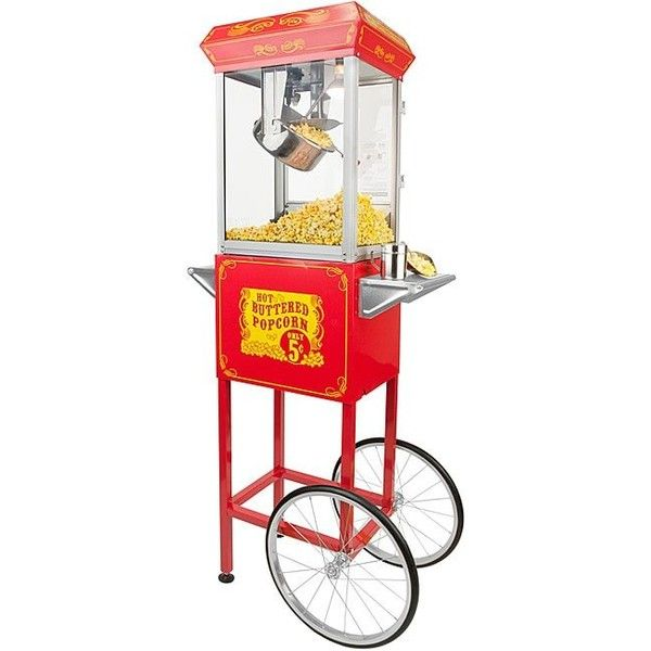 FunTime Full-size Carnival Style 8-oz Hot Oil Popcorn Machine with... ($410) ❤ liked on Polyvore featuring home, kitchen & dining, small appliances, silver, popcorn popper, storage cart, storage trolley, wheeled storage cart and silver tea kettle