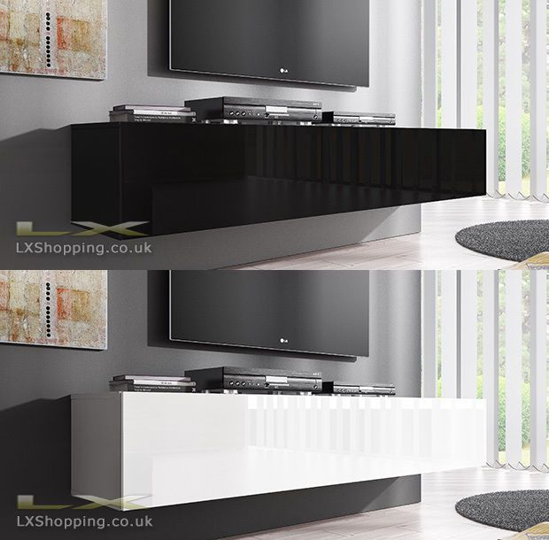 black gloss floating tv unit purple wall google search lounge pinterest tvs floating tv. Black Bedroom Furniture Sets. Home Design Ideas