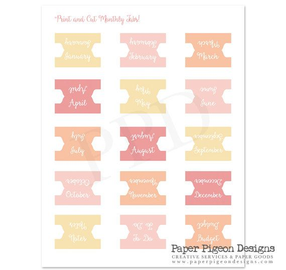 DIY Daily Planner Tabs-All Size Printable Planner Tabs ...