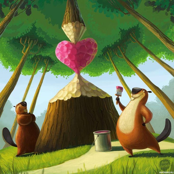 #Сердце, #Лес, #Любовь, #Бобры,  #аватары, #картинки, #арт, https://avatarko.ru/kartinka/1913