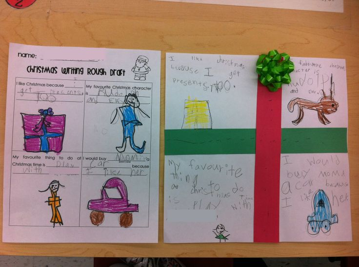 First Grade Garden Christmas Writing Rough Draft and Finished Gift piece