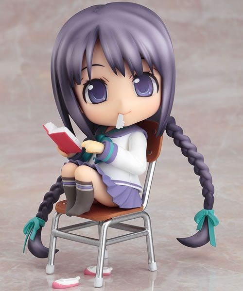 ☄★○ collectible anime figures ~ like 2D come to life ♥ nendoroid figure - chibi - school girl - school uniform - seifuku sailor uniform - long hair - braids - book - sitting - cute - kawaii