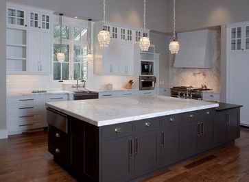 White Top Cabinets W Dark Bottom Stone Collection Granite Huge Island In Calacatta Gold Marble Contemporary Kitchen Countertops Austin