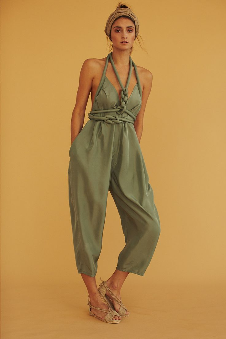 """JUMPSUIT WITH ROPE TOP CAN ALSO BE WORN AS PANTS BELT LOOPS ALLOW ROPE TO BE TIED INFINITE WAYS 24"""" INSEAM MADE IN NEW YORK CITY."""