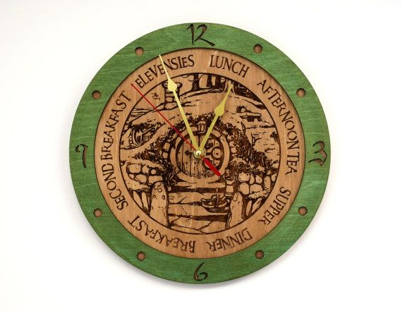 Wooden wall clock for those who love Lord of the rings, Hobbit and everything associated with it!! Made of two laminated slices of Baltic birch.