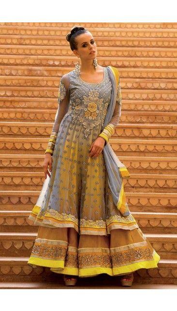 Grey and Yellow Net Anarkali Churidar suit - DM12500