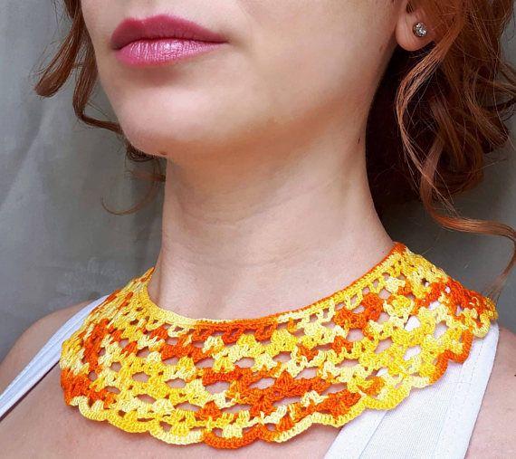 Orange crochet collar necklace orange fabric collar