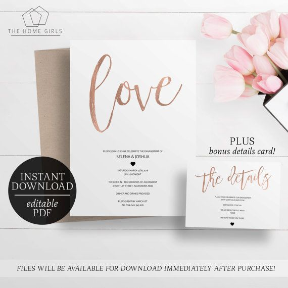 20 best Printable Engagement Invitations Editable Templates - engagement party invites templates
