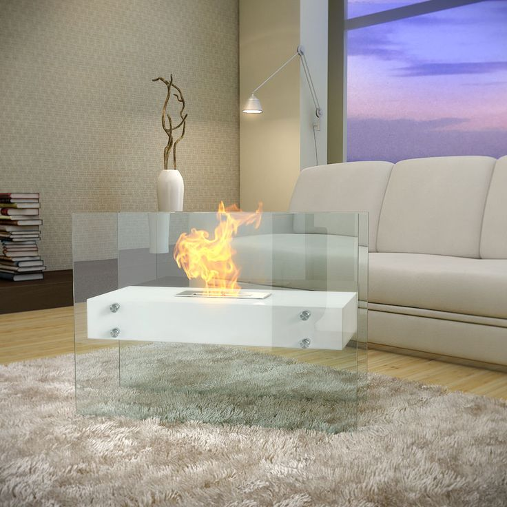 LINEAR Bio Ethanol Fireplace - White