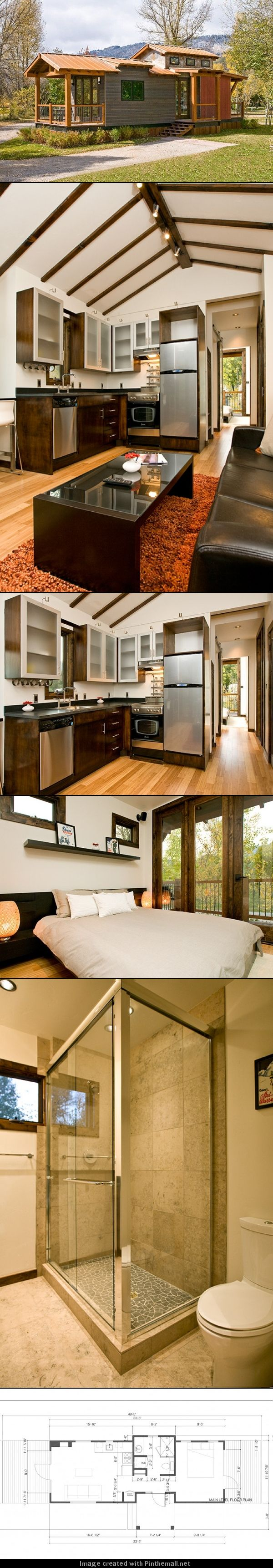 "Stunning tiny house, movable if need be. Jamie Mackay designed and built a mountain modern ""Park Model RV"" at his campground in Jackson Hole, Wyoming. The ""Park Model"" is built out of SIP panels and SIP roof system, 4″ walls and 6″ roof, keeping heating and cooling costs down."