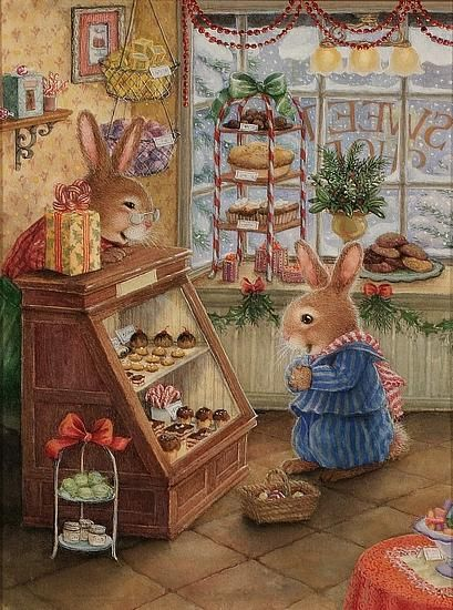 bunny bakery treats for Christmas - love Susan Wheeler's art!