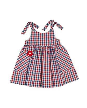 Sleeveless Gingham Sundress, Red/Blue, Size 2-6 by Florence Eiseman at Neiman Marcus.