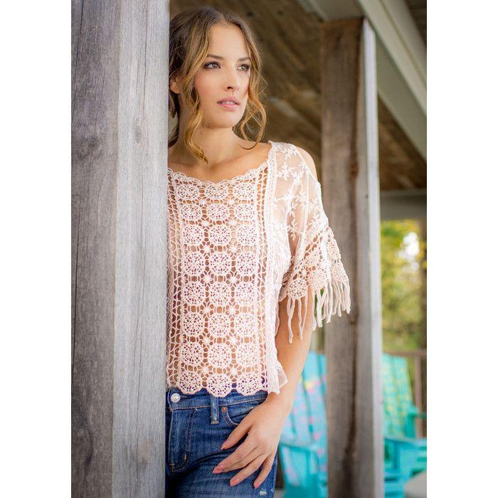 Beautiful pink cold shoulder crochet top  $75.00 #petitetops #summertops #lace