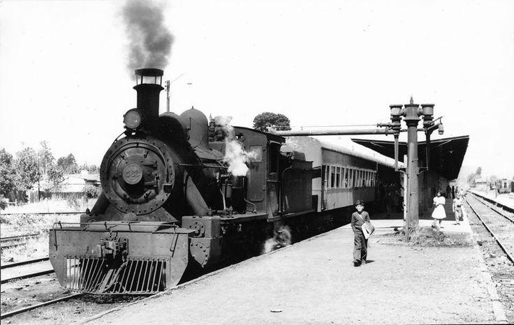 Chile, Loncoche. Estación de trenes de Loncoche en 1974.