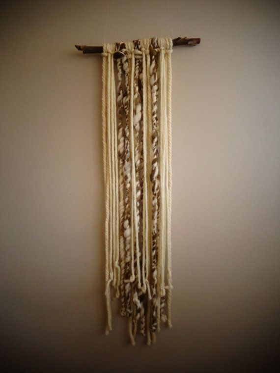 Brown and white  Khipu inspired Wall Hanging by CrisalidaTextile