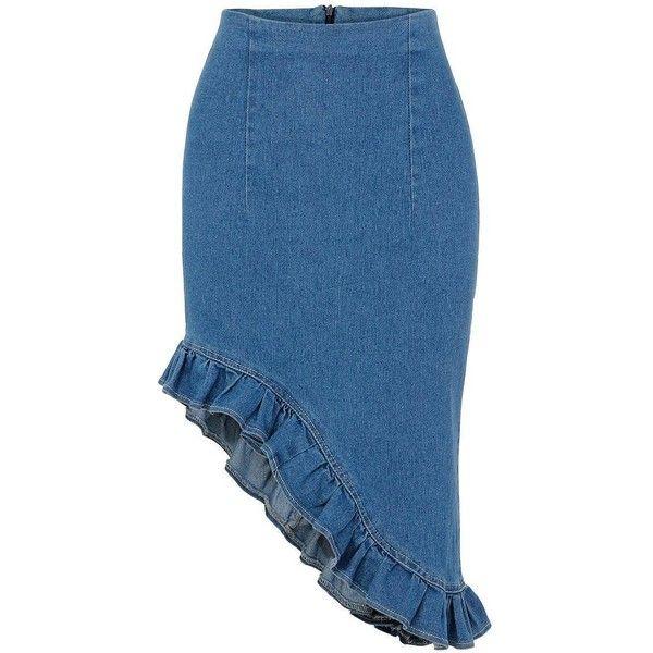 Yoins Yoins Denim Irregular Fishtail Pencil Skirt ($20) ❤ liked on Polyvore featuring skirts, bottoms, blue, knee length pencil skirt, denim skirt, high waisted pencil skirt, blue high waisted skirt and denim pencil skirt