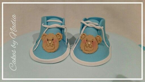 Sugar Paste edible Baby Booties from Cakes by Nadia in Bloemfontein, South Africa.