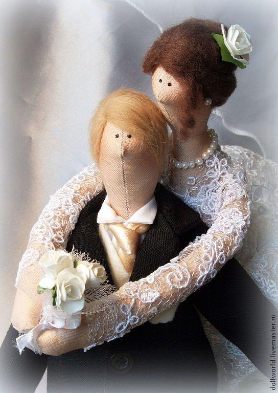 Купить Жених и невеста - белый, черный, свадьба, жених и невеста, кукла Тильда