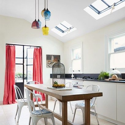 Ideas for small dining rooms - from furniture - tables, seating and suites to cabinets and dressers to paint and decoration - on HOUSE including this bright white modern space with skylights.