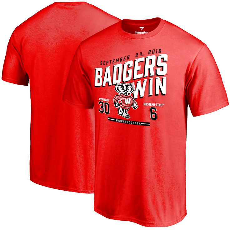 Wisconsin Badgers vs. Michigan State Spartans 2016 Score T-Shirt - Red - $24.99