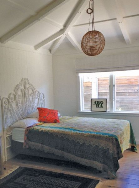 Behome Peacock Bed in a sweet Waimarama Beach House bedroom with lots of aroha.