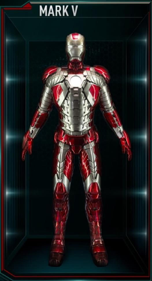 """The Mark V (Mark 5), also known by it's names as the """"Football"""" and Suitcase Armor, is an Emergency Suit, and was the fifth Iron Man Armor designed and..."""