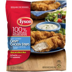 Tyson Crispy Chicken Strips, with ranch dressing these are amazing