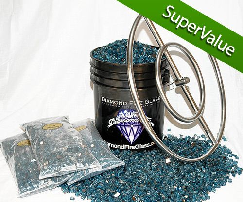Fire Pit Glass Kit with 24 Inch Stainless Steel Fire Pit Ring