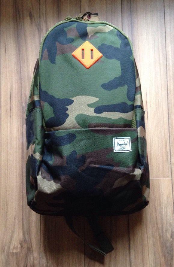 #Herschel #Supply Co #Authentic #Nelson #Woodland #Camo/Neon #Orange #Rubber #Backpack