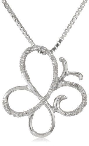 "Sterling Silver Diamond Butterfly Pendant Necklace (1/10 cttw, I-J Color, I3 Clarity), 18"" $65.00 #topseller"