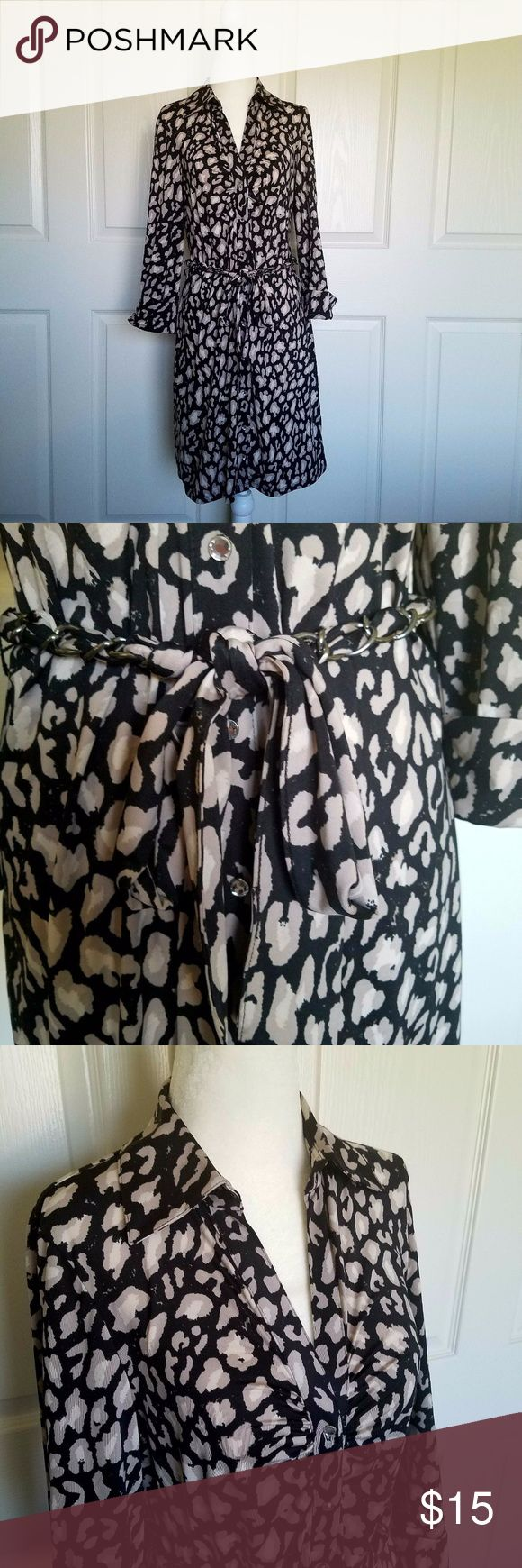 """INC International Concepts Petite Shirt Dress INC International Concepts Shirt Dress Petite M Animal Print Belted 3/4 Sleeve  Shoulder to shoulder - 15"""" Total length - 36"""" Bust (Armpit to armpit) - 18"""" Sleeve length - 19""""  - No apparent rips, holes, or stains - 92% Polyester, 8% Spandex - Rhinestone buttons - Belt is removable - Machine washable  **Measurements are taken with garment laying flat, and as exact as possible. INC International Concepts Dresses"""
