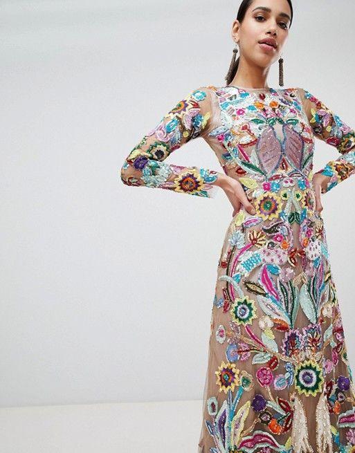 a2949b823e8 A Star is born premium allover embroidered maxi dress in multi in ...
