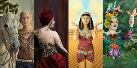 (From left) Jools Topp - with her horse Intrigue; Liz Mitchell - celebration through her craft; Katlyn Wong - Sekhmet, goddess of healing and Sonja Mravicich - new beginnings. Photo / Chris Traill