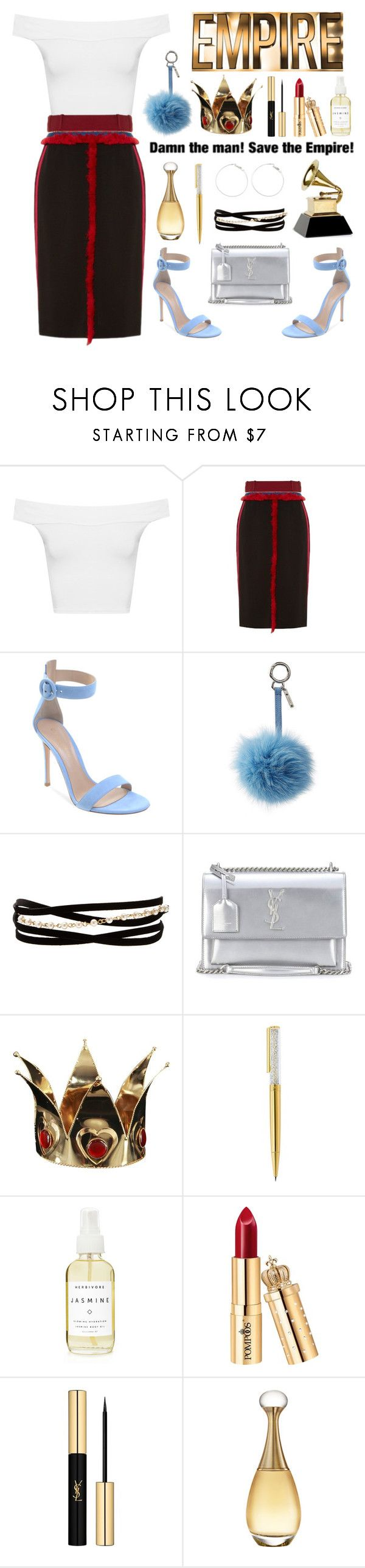 """Cookie Lyon"" by bluestockingsociety ❤ liked on Polyvore featuring WearAll, Altuzarra, Fendi, Kenneth Jay Lane, Yves Saint Laurent, Swarovski, A Weathered Penny and Christian Dior"