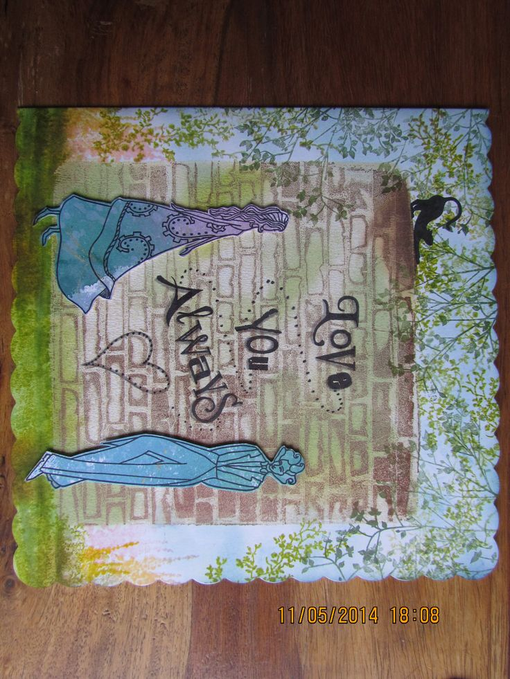 """Love You Always"" card made using Clarity stamps & stencils together with Gelli plate print, acrylic paint & Adirondack inks"