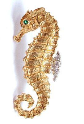 Tiffany Co Germany 18K Yellow Gold Diamond Emerald Seahorse Pin Brooch | eBay