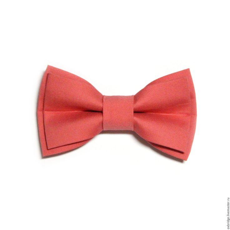 Купить Галстук бабочка розово-кораллового цвета / Бабочка галстук коралловый - галстук бабочка